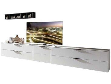 Design Wohnwand in Weiß und Dunkelgrau 340 cm breit (4-teilig)