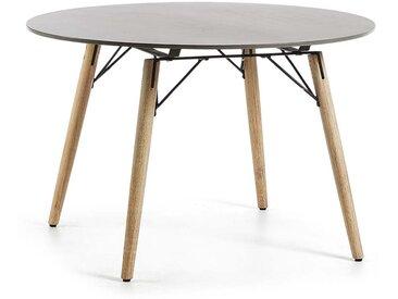 Runder Tisch aus Leichtbeton Eukalyptusholz