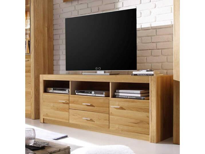TV Schrank aus Asteiche Schubladen Braun
