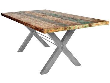 Küchentisch in Bunt Recyclingholz massiv X-Füßen aus Eisen
