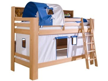 Kinderetagenbett aus Buche Massivholz Tunnel und Vorhang