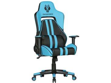 Racer Schreibtischstuhl in Hellblau und Schwarz verstellbaren Armlehnen