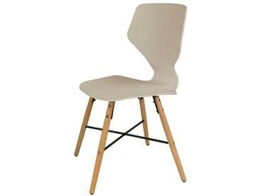 Küchenstuhl in Beige Kunststoff Massivholzgestell (4er Set)