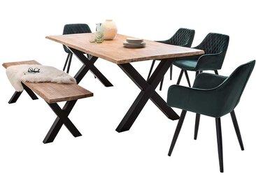 Loft Essgruppe mit Baumkantentisch und Sitzbank White Wash und Dunkelgrün (6-teilig)