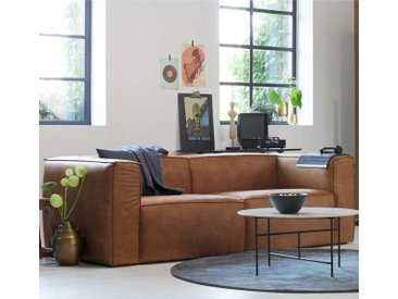 Wohnzimmer Couch in Cognac Braun Recyclingleder