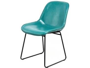 Küchenstuhl in Blau Kunstleder Retro Style (2er Set)