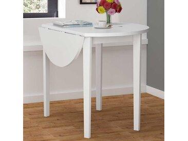 Runder Tisch in Weiß klappbarer Tischplatte