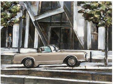 Wandbild aus Metall und Massivholz Auto Motiv