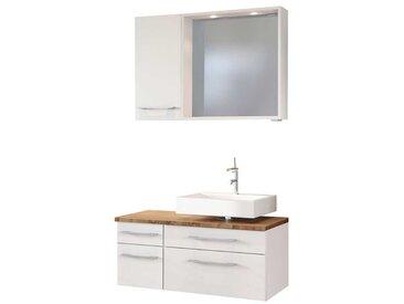 LED Badspiegel mit Waschtisch und Hängeschrank Weiß und Wildeiche Dekor (3-teilig)