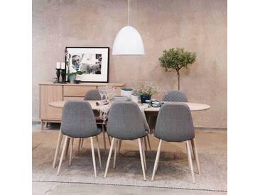 Esstisch mit Stühlen im Retro Look mit ovalem Tisch (7-teilig)