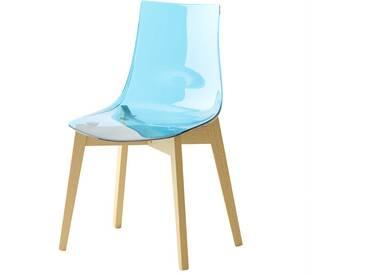 Küchenstuhl in hell Blau Kunststoff Massivholzgestell