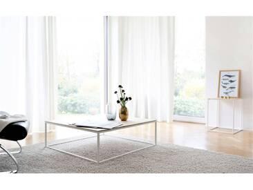 Design Couchtisch AMAT - 120 x 70 cm - Nussbaum Massivholz mit weißem Metallgestell. Made in Germany.