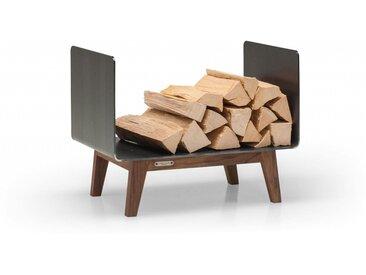Kaminholzregal Innen aus Metall. Hochwertiges Design Brennholzregal aus Metall und Massivholz für das Wohnzimmer. 60 cm breit. Handgemacht in DE.