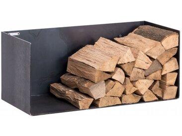 Kaminholzregal Innen aus Metall. Hochwertiges Design Brennholzregal aus Metall zur Wandbefestigung für das Wohnzimmer. 80 cm breit. Handgemacht in DE.