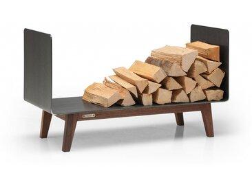 Kaminholzregal Innen aus Metall. Hochwertiges Design Brennholzregal aus Metall und Massivholz für das Wohnzimmer. 90 cm breit. Handgemacht in DE.