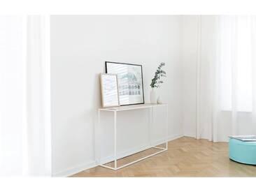 Design Konsolentisch AMAT mit Metallgestell. 130x32x90cm. Massivholz Esche mit weißem Gestell. Hochwertige Konsole für den Flur handgemacht in DE.