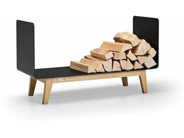 Brennholzregal FERRA für Innen. Kaminholzregal aus schwarzem Metall und Eiche Massivholz für das Wohnzimmer. 90 cm breit. Made in Germany