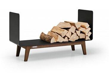 Brennholzregal FERRA für Innen. Kaminholzregal aus schwarzem Metall und Nussbaum Massivholz für das Wohnzimmer. 90 cm breit. Made in Germany