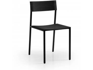 Design Esszimmerstuhl Schwarz filigran mit Metallgestell. Hochwertiger und filigraner Stuhl aus schwarzem Massivholz handgemacht in Deutschland.