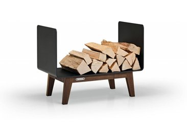 Brennholzregal FERRA für Innen. Kaminholzregal aus schwarzem Metall und Nussbaum Massivholz für das Wohnzimmer. 60 cm breit. Made in Germany