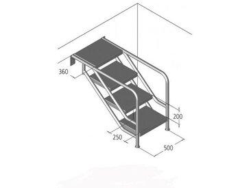 Ideal Treppen-Unterteil Miami Modell 08.3 Waffelblech-Stufen Ausführung: 8-stufig