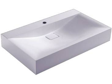 STONEART Waschbecken BH086-4E (Mineralguss) weiß 80cm glänzend