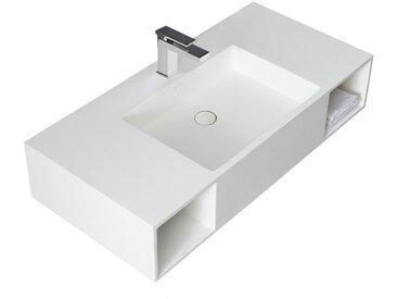 StoneArt Waschbecken (Mineralguss) LQ710 weiß 100x48cm glänzend