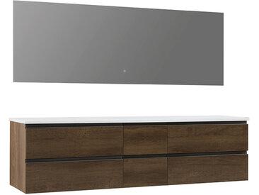 StoneArt Badmöbel-Set Monte Carlo MC-2000pro eiche dunkel 200x52