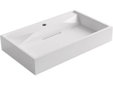 Waschbecken StoneArt BB087-3E (Mineralguss) weiß 75cm glänzend