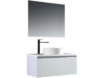 Badmöbel-Set StoneArt Milano ME-1000pro-6 weiß 100x45