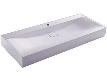 StoneArt Waschbecken BH086-7E (Mineralguss) weiß 120cm glänzend