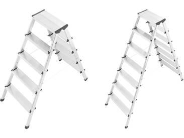 Hailo D60 Alu Sicherheits- Doppelstufenleiter 2 x 5  2 x 7 Stufen  Leiter für den Haushalt