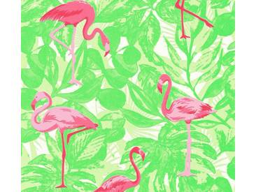 AS Creation Vliestapete Club Tropicana Flamingo, Grün-Pink, Tapete 359802