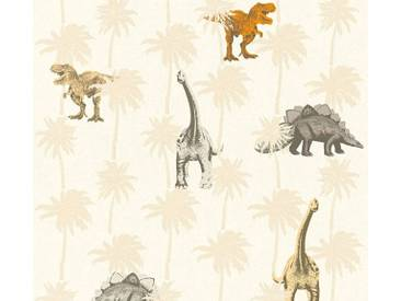 AS Creation Vliestapete Little Stars Dinosaurier, Dinos, Beige, Sand, 358351 Kinder-Tapete