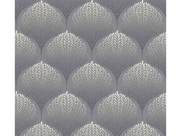 AS Creation Vliestapete Palila Grau-Schwarz-Weiß, Blätter, Orientalisch 363101 Tapete