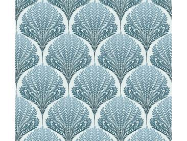 AS Creation Vliestapete Palila Blau-Türkis-Weiß, Blätter, Orientalisch 363105 Tapete