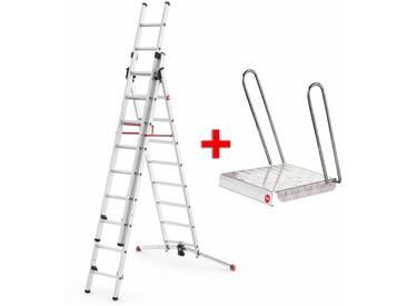 Hailo ProfiLOT Sprossenleiter bis 6,6 m Arbeitshöhe, Alu-Kombi-Leiter + gratis Einhängetritt