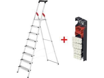 Hailo 8 Stufen Alu-Sicherheits-Haushaltsleiter XXL, L80 ComfortLine, inkl Multifunktionsschale