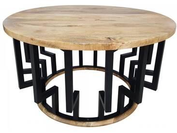 Couchtisch Lounge-Tisch Mango Massiv-Holz Rund 70 Ø Bar Bistro Cafe Industrial