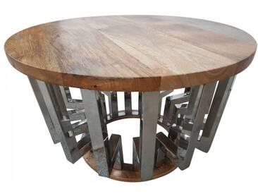 Wohnzimmertisch Couchtisch Lounge-Tisch Massiv-Holz Rund 65 Ø Industrial chrome