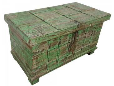 Truhe Kiste Holztruhe grün Box Vintage Massiv Shabby Chic aus Handarbeit Unikat