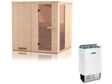 Elementsauna Gobi 60 mm mit Sichtfenster und Dachkranz inkl. 8 kW Saunaofen - Außenmaße (B x T x H): 200 x 200 x 205 cm