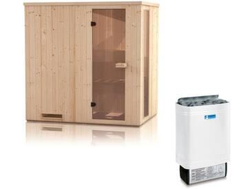 Elementsauna Gobi 60 mm mit Sichtfenster und Dachkranz inkl. 6 kW Saunaofen - Außenmaße (B x T x H): 150 x 200 x 205 cm