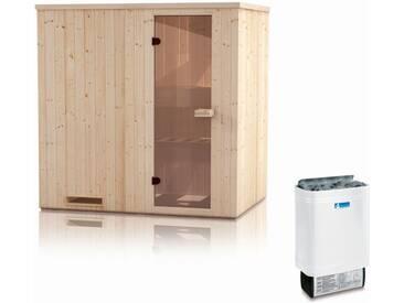 Elementsauna Gobi 60 mm mit Dachkranz inkl. 8 kW Saunaofen - Außenmaße (B x T x H): 200 x 200 x 205 cm