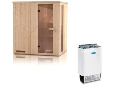 Elementsauna Gobi 60 mm mit Sichtfenster und Dachkranz inkl. 4,5 kW Saunaofen - Außenmaße (B x T x H): 150 x 150 x 205 cm