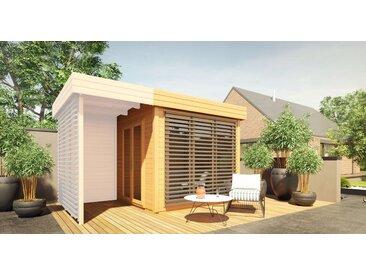 Gartenhaus Nefud 28 mm, Farbe: Eiche / Anthrazit - Außenmaße (B x T): 254 x 254 cm