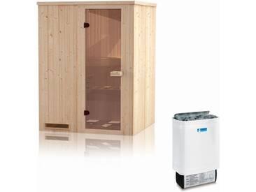 Elementsauna Gobi 60 mm mit Dachkranz inkl. 4,5 kW Ofen - Außenmaße (B x T x H): 150 x 150 x 205 cm