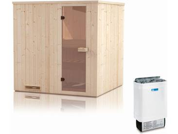 Elementsauna Gobi 60 mm mit Dachkranz inkl. 6 kW Saunaofen - Außenmaße (B x T x H): 180 x 180 x 205 cm