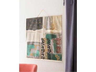 Wandbehang handbemalt bunt - one size - Rot/Creme/Grau/Gold - 100 % Baumwolle