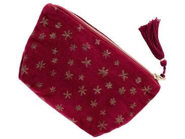 Samtbörse Sterne rot - one size - Rot/Gold - 100 % Baumwolle